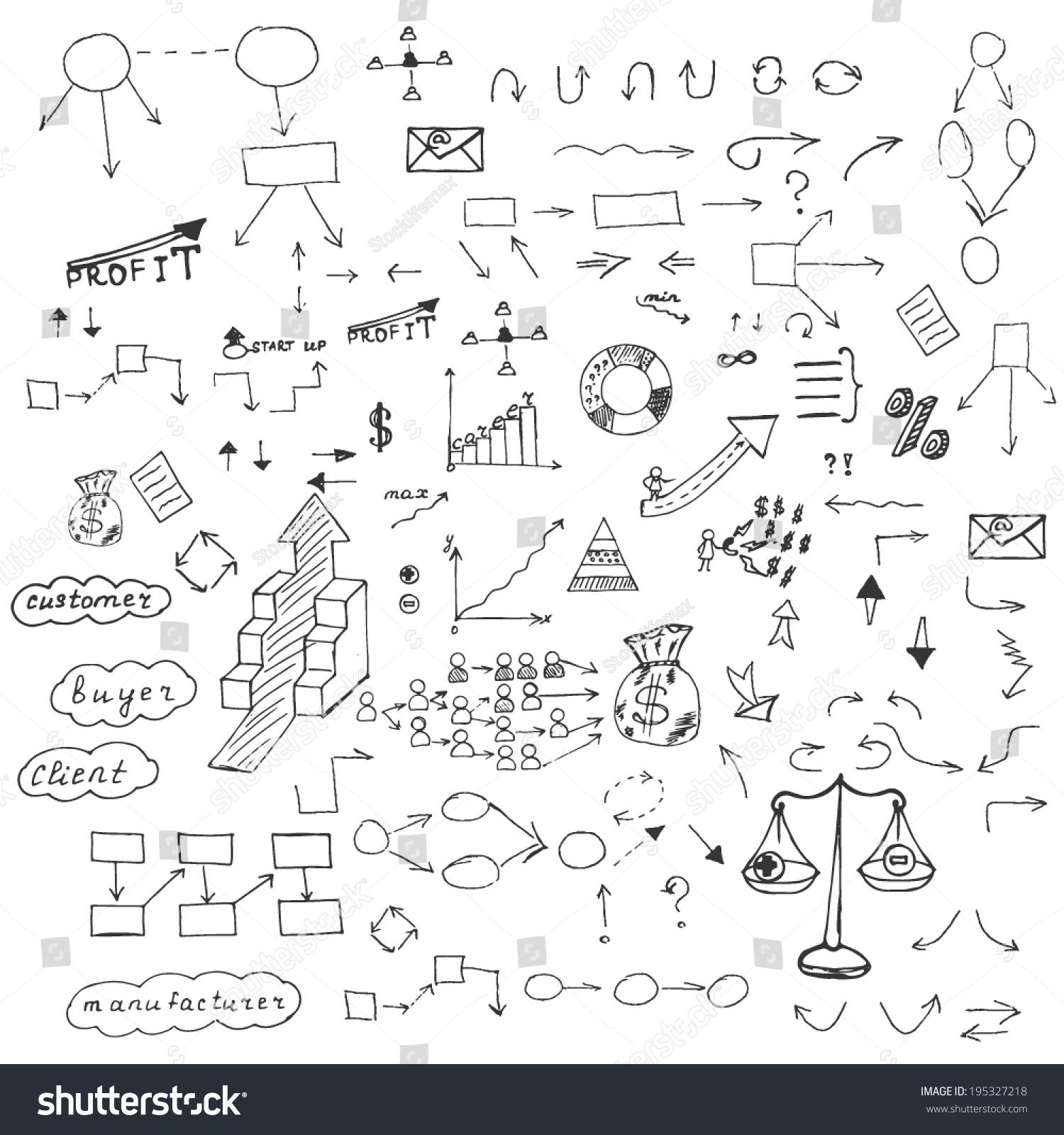 手绘矢量图:箭头,业务,元素,图表.图表.-艺术,符号