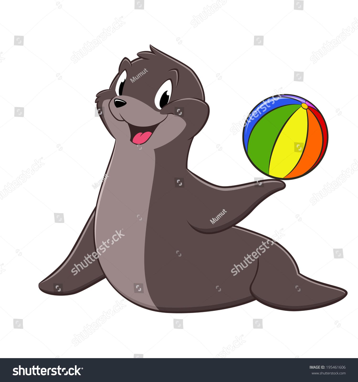 一只抱着玩具球的海狮的矢量图-动物/野生生物