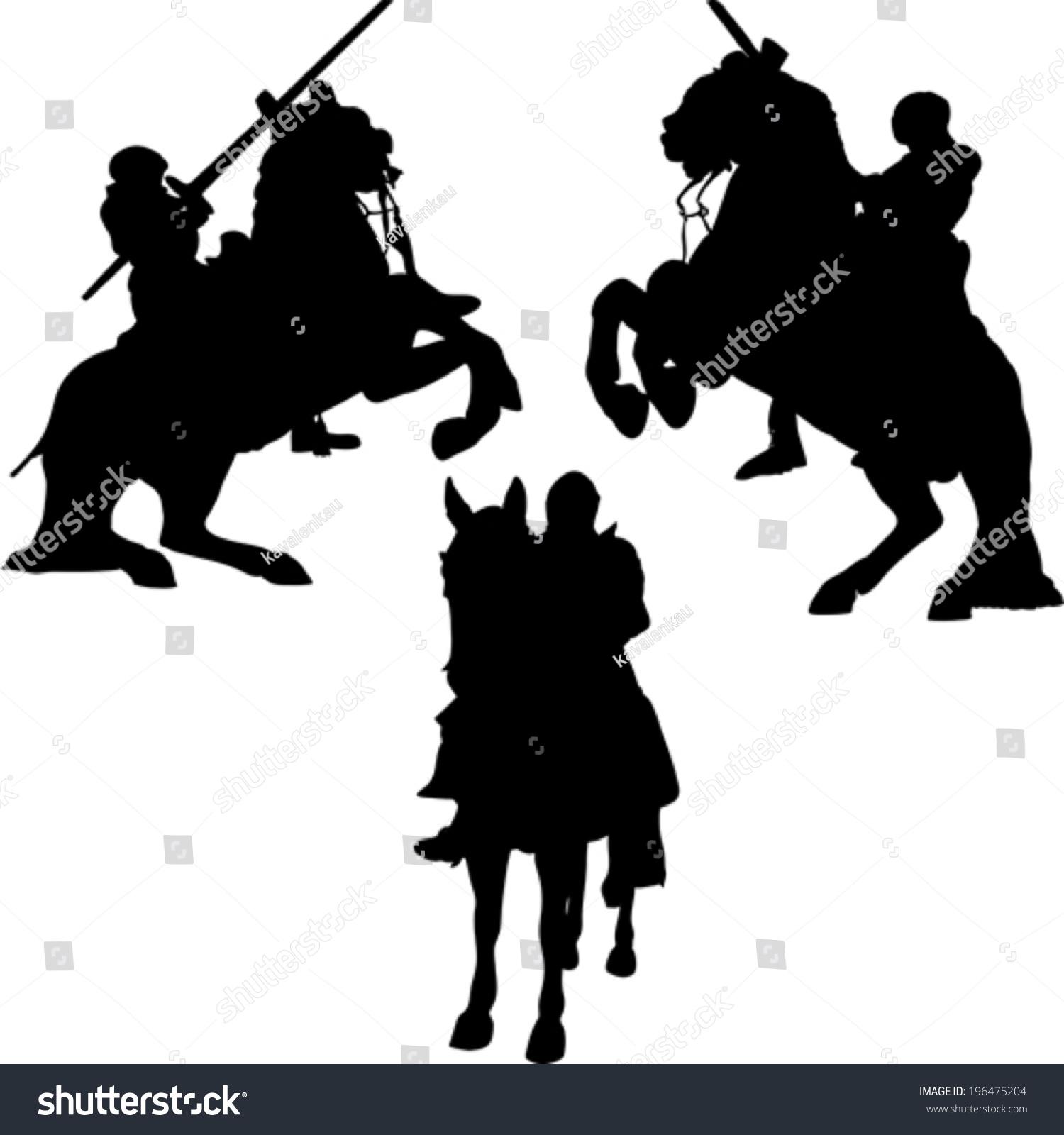 矢量剪影全副武装的骑士盔甲-人物