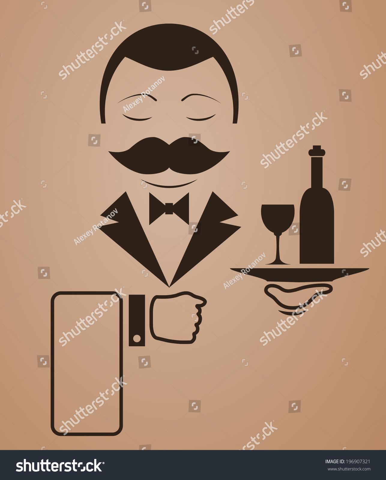 胡子图标矢量服务员-食品及饮料,符号/标志-海洛创意