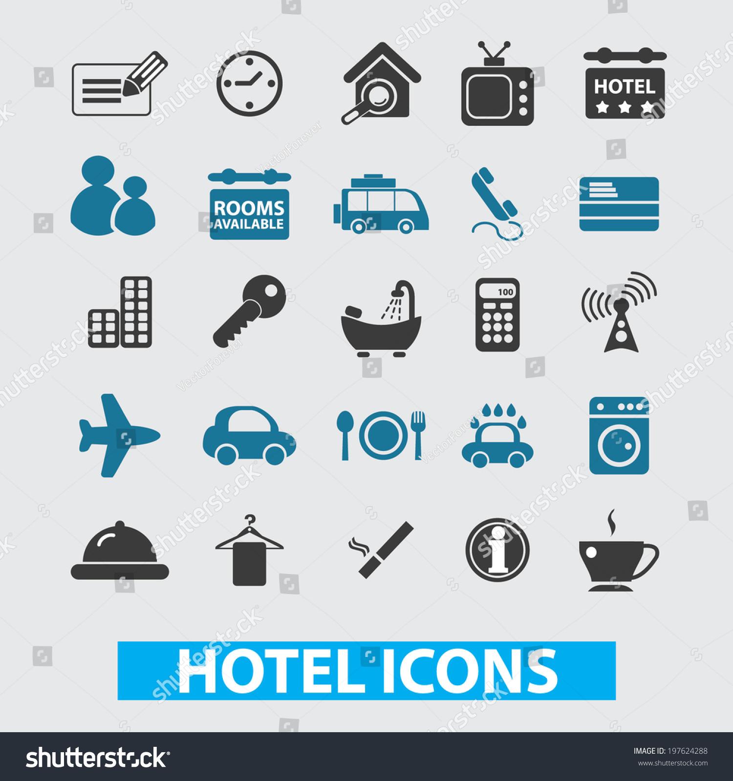 酒店,汽车旅馆的图标集,向量-物体,符号/标志-海洛()