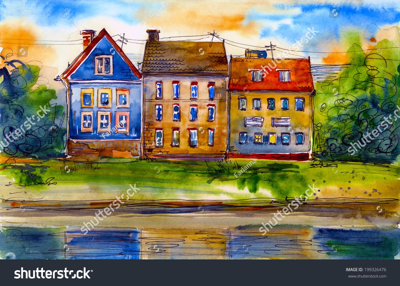 美麗的房子附近水水彩畫插圖海報手繪作品-建筑物