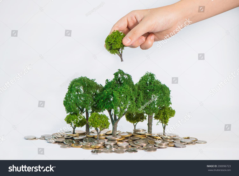 硬币生长的树木,手拿着一棵树种植-背景/素材,商业