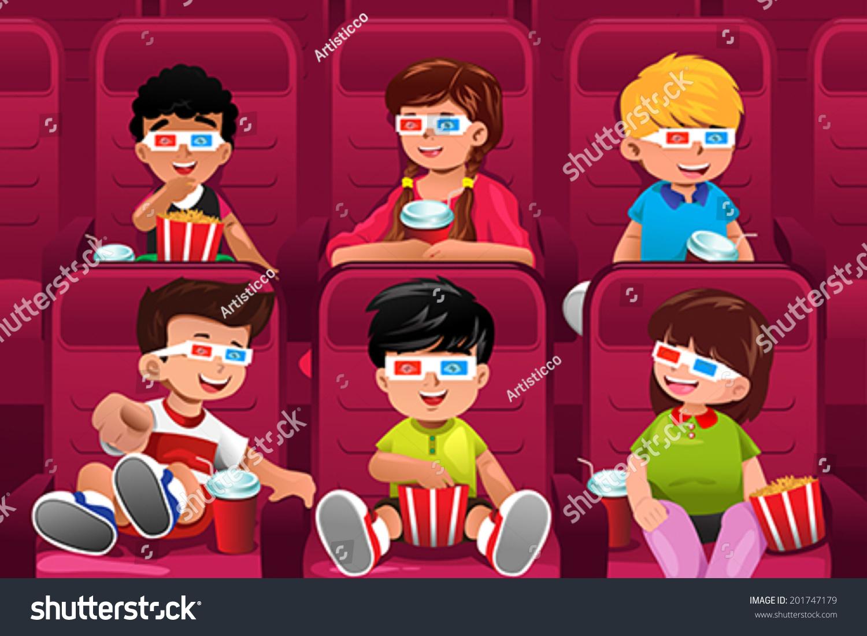 一个矢量插图的快乐的孩子们一起去看电影-人物-海洛