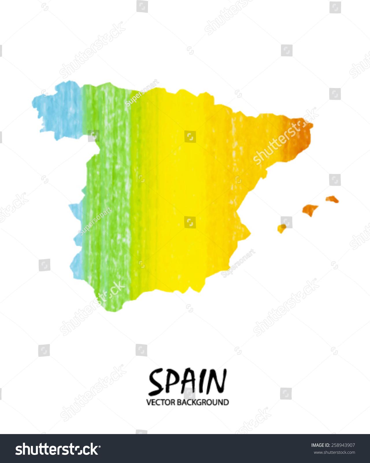 手绘地图西班牙孤立在白色铅笔中风.向量的版本-艺术