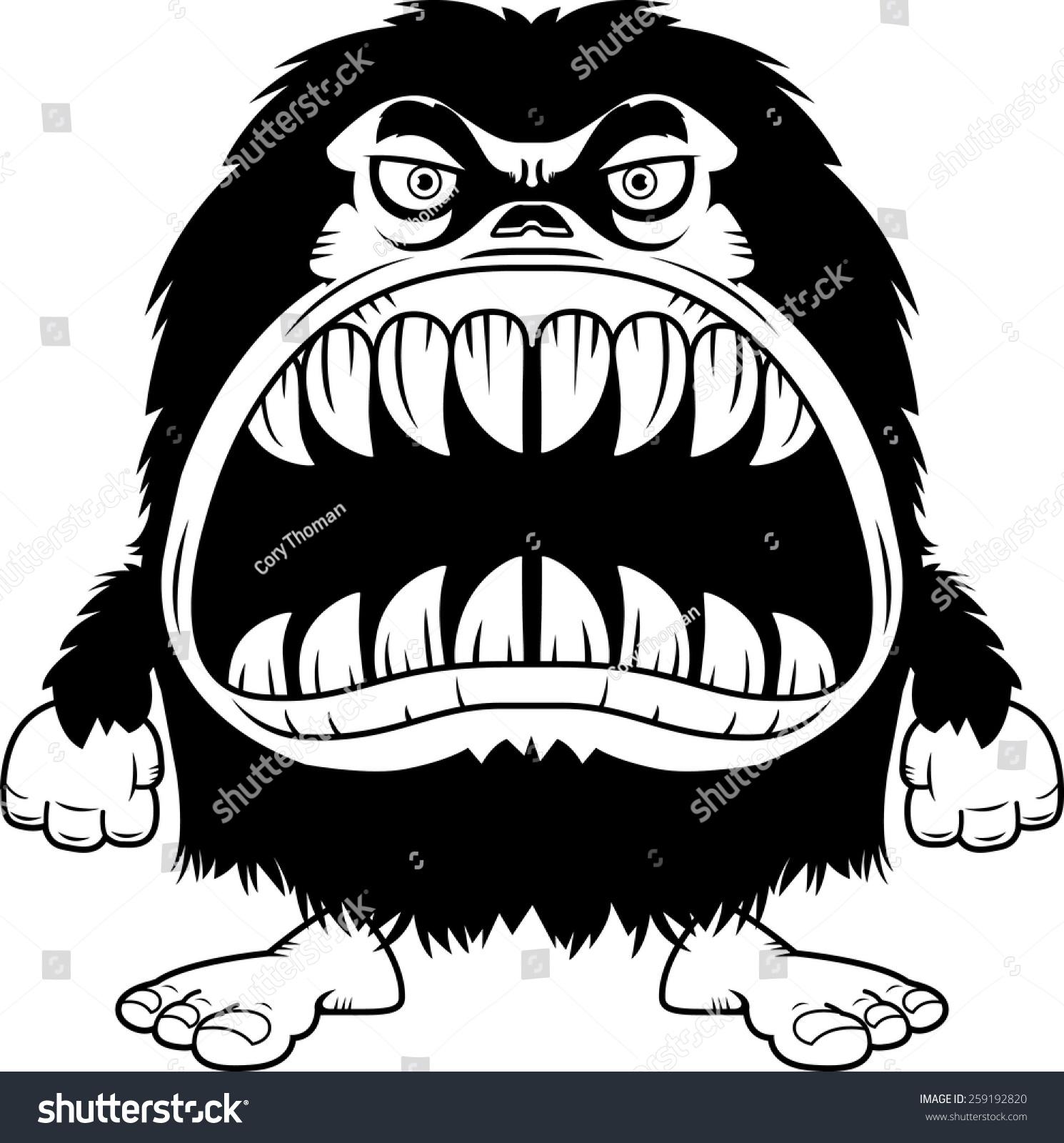 的卡通插图毛茸茸的怪物大嘴巴满的锋利的牙齿