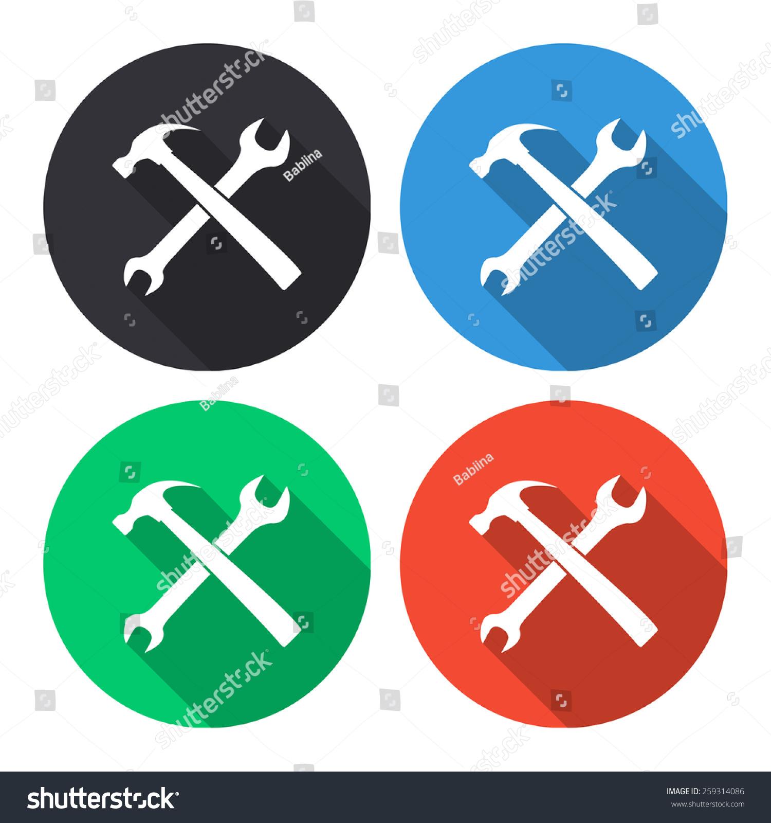 扳手和锤矢量图标颜色(灰色,蓝色,绿色,红色)圆形按钮