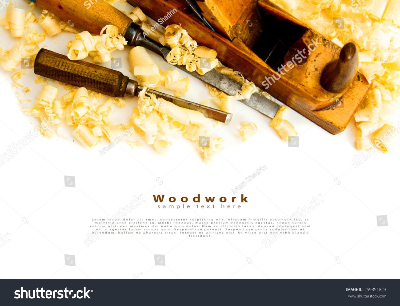 木工工作.木制剃须和飞机在白色背景