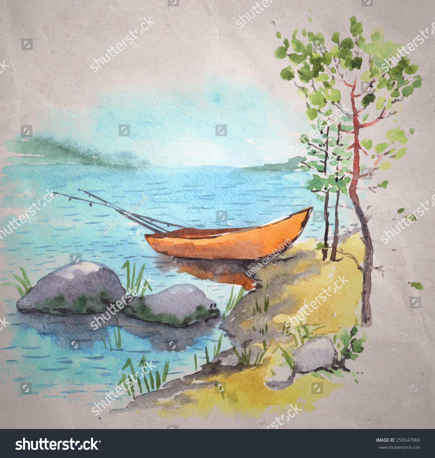 水彩画在牛皮纸背景.银行湖或河与一个渔夫的船捕鱼路
