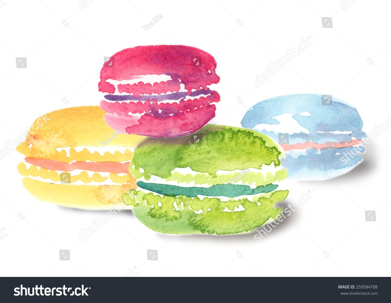 色彩斑斓的马卡龙拼贴画水彩孤立在白色背景-食品及