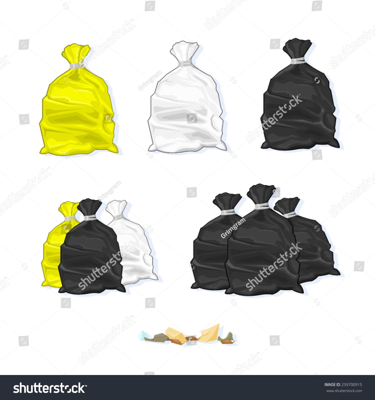 各种全和捆绑的垃圾塑料袋的矢量图.垃圾袋.塑料垃圾.