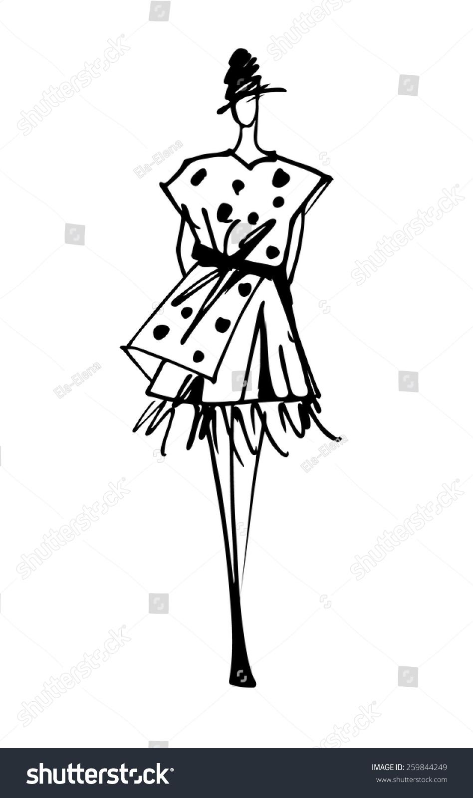 时装模特剪影手绘草图-人物,美容/时装服饰-海洛创意