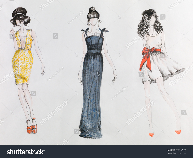 手绘时装画.穿着彩色连衣裙的妇女
