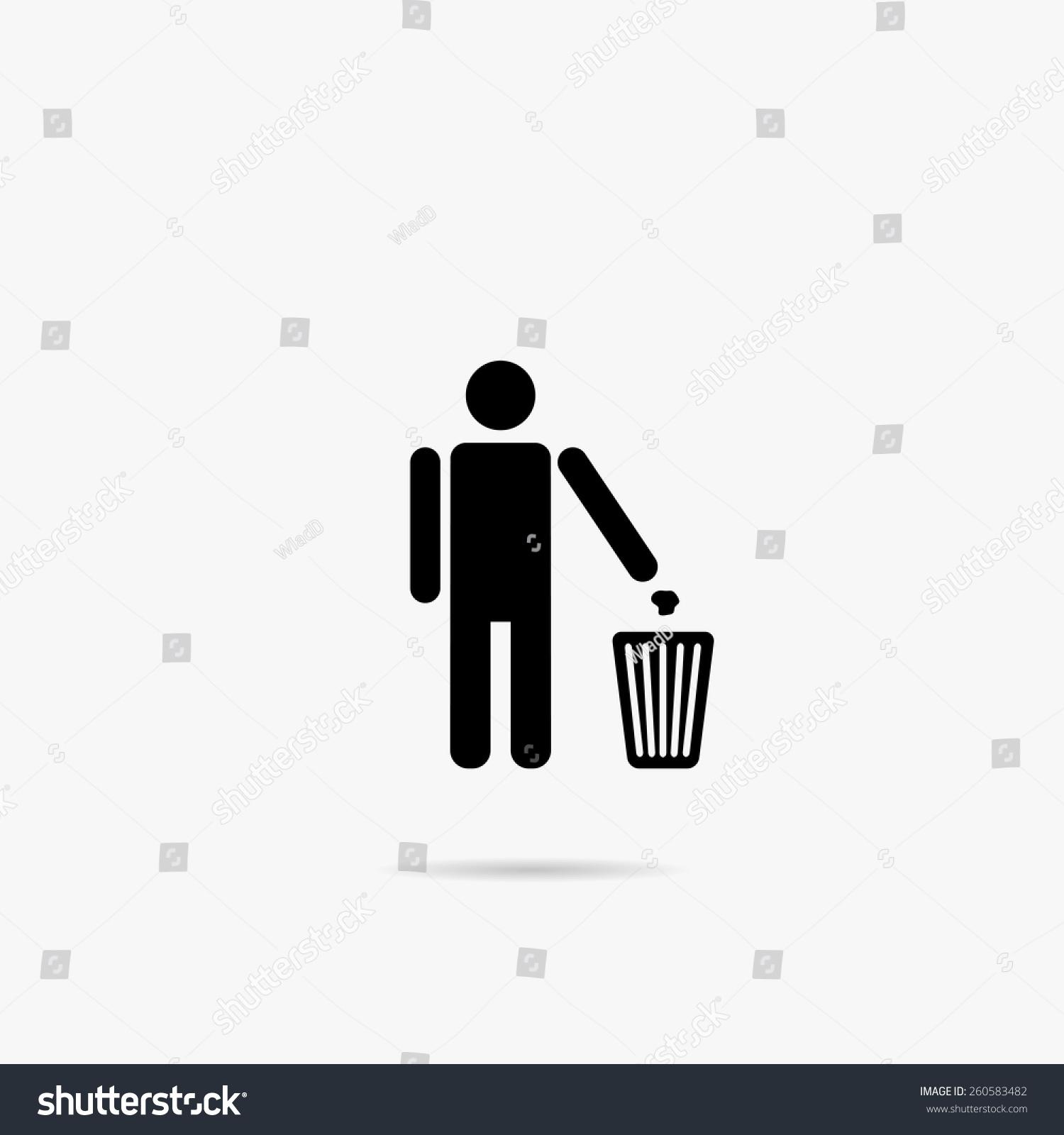 简单的图标的人把垃圾扔进垃圾桶