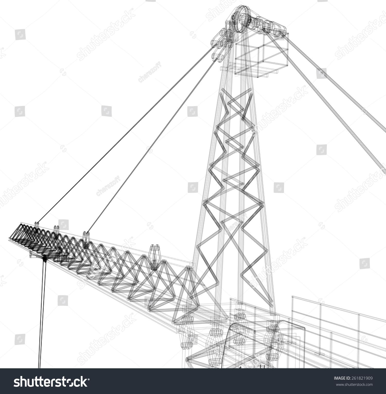 塔式起重机.白色背景上的详细的矢量插图