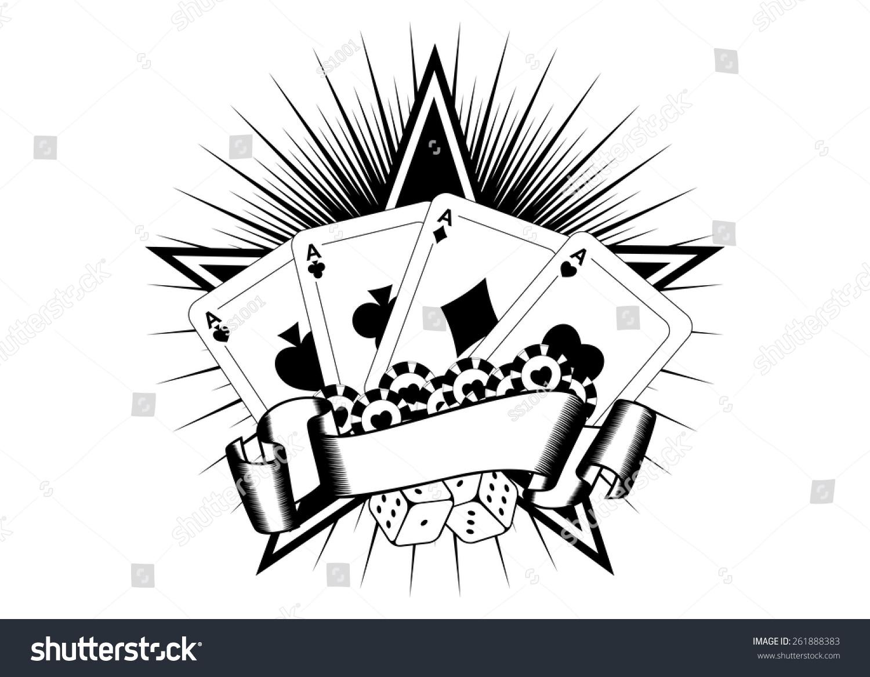 抽象的矢量插图扑克牌骰子芯片-符号/标志,运动/娱乐