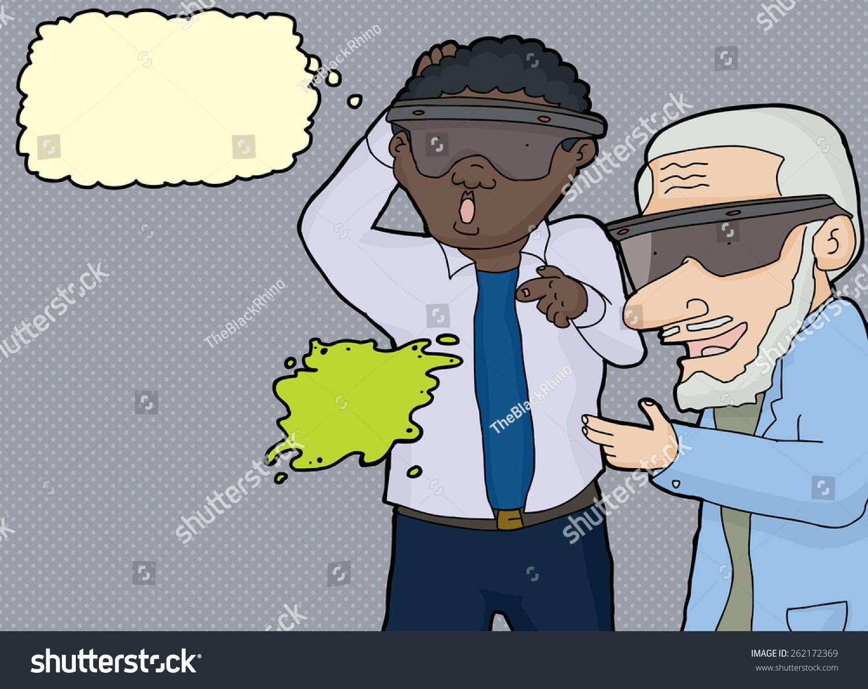 惊讶成熟的虚拟现实眼镜的男人追求的对象