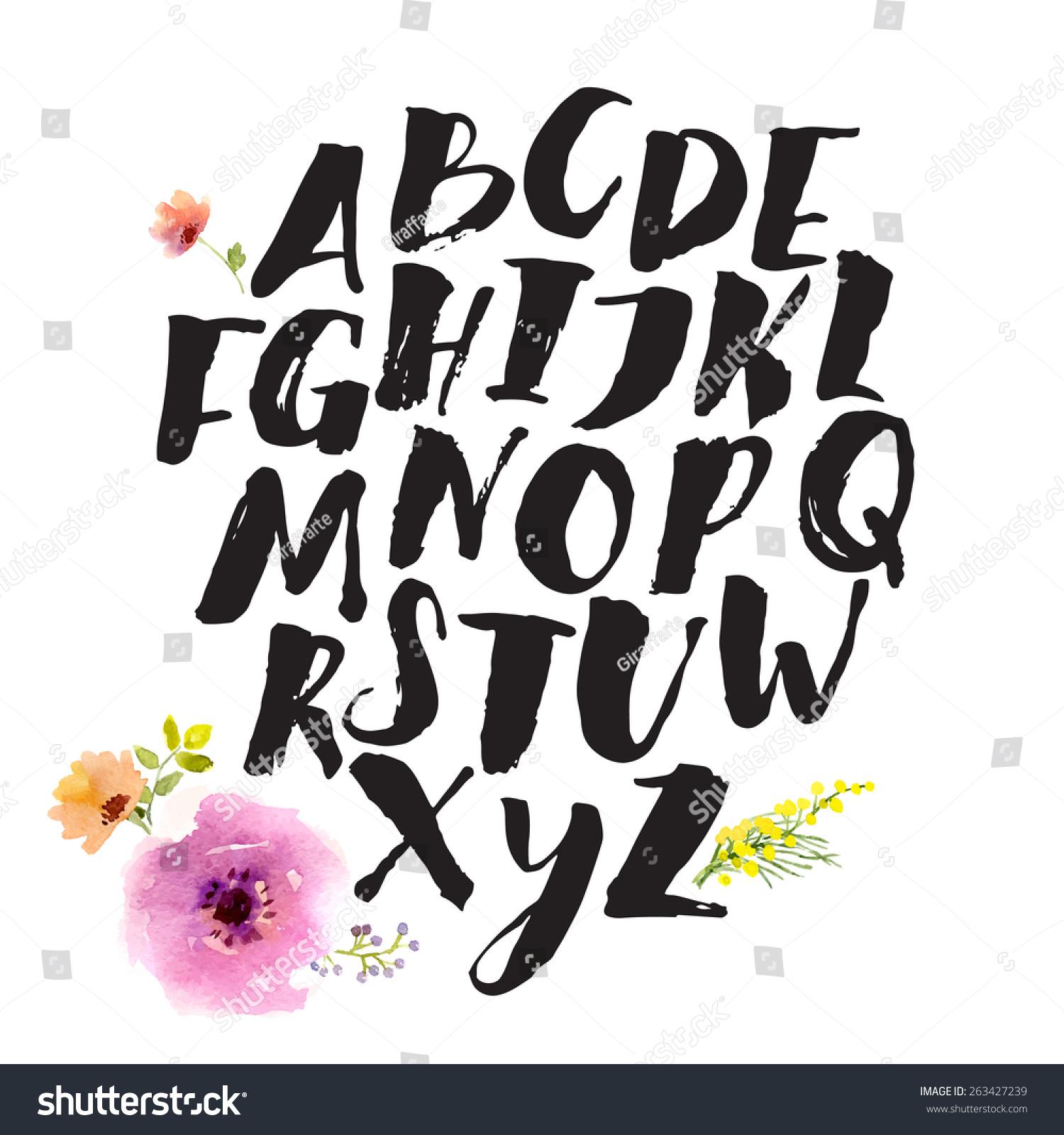 手绘字母用毛笔.信件是用水彩花卉装饰