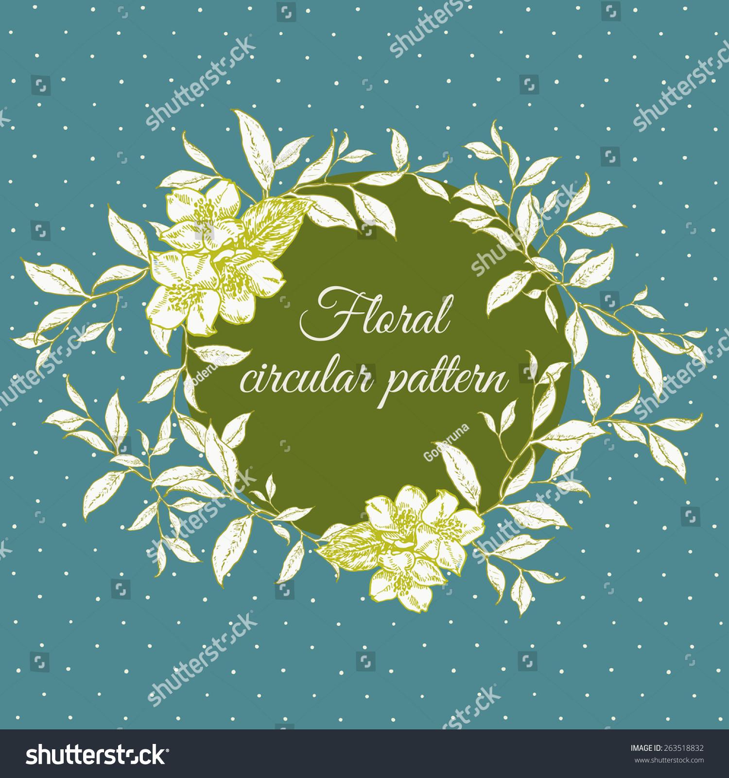 圆形花卉图案手画卡或邀请卡.变量矢量图的组成元素