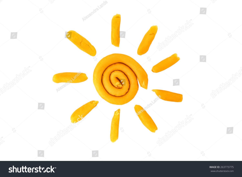 橡皮泥太阳孤立在白色背景-物体-海洛创意(hellorf)-.