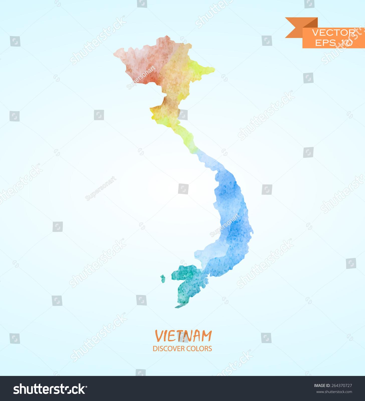 手绘水彩越南地图孤立.向量的版本-物体,符号/标志-()