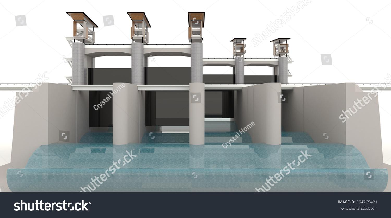 现代水闸设计的3 d模型在白色背景-建筑物/地标,工业