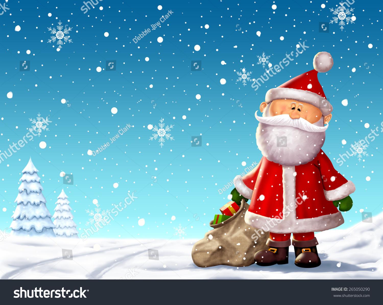 可爱的圣诞老人一袋玩具背景插图.-假期,人物-海洛()