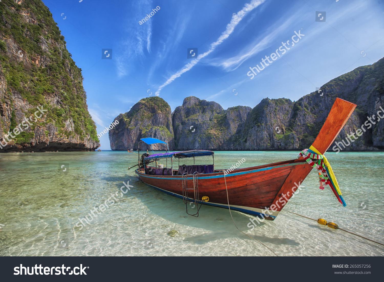 泰国普吉岛附近的原始长尾船玛雅海滩-交通运输,公园