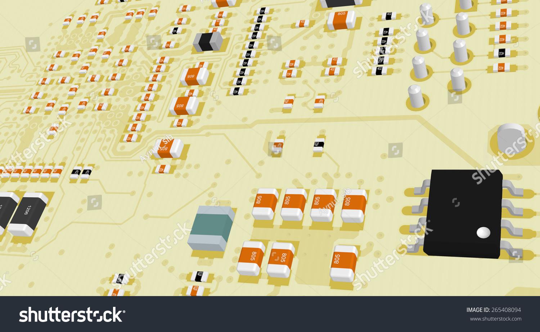 印刷电路板黄色电阻和电容和芯片-背景/素材