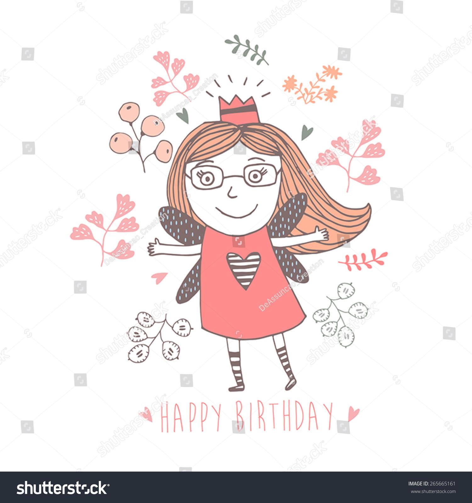 卡和可爱的女孩生日快乐-背景/素材,美容/时装服饰-()