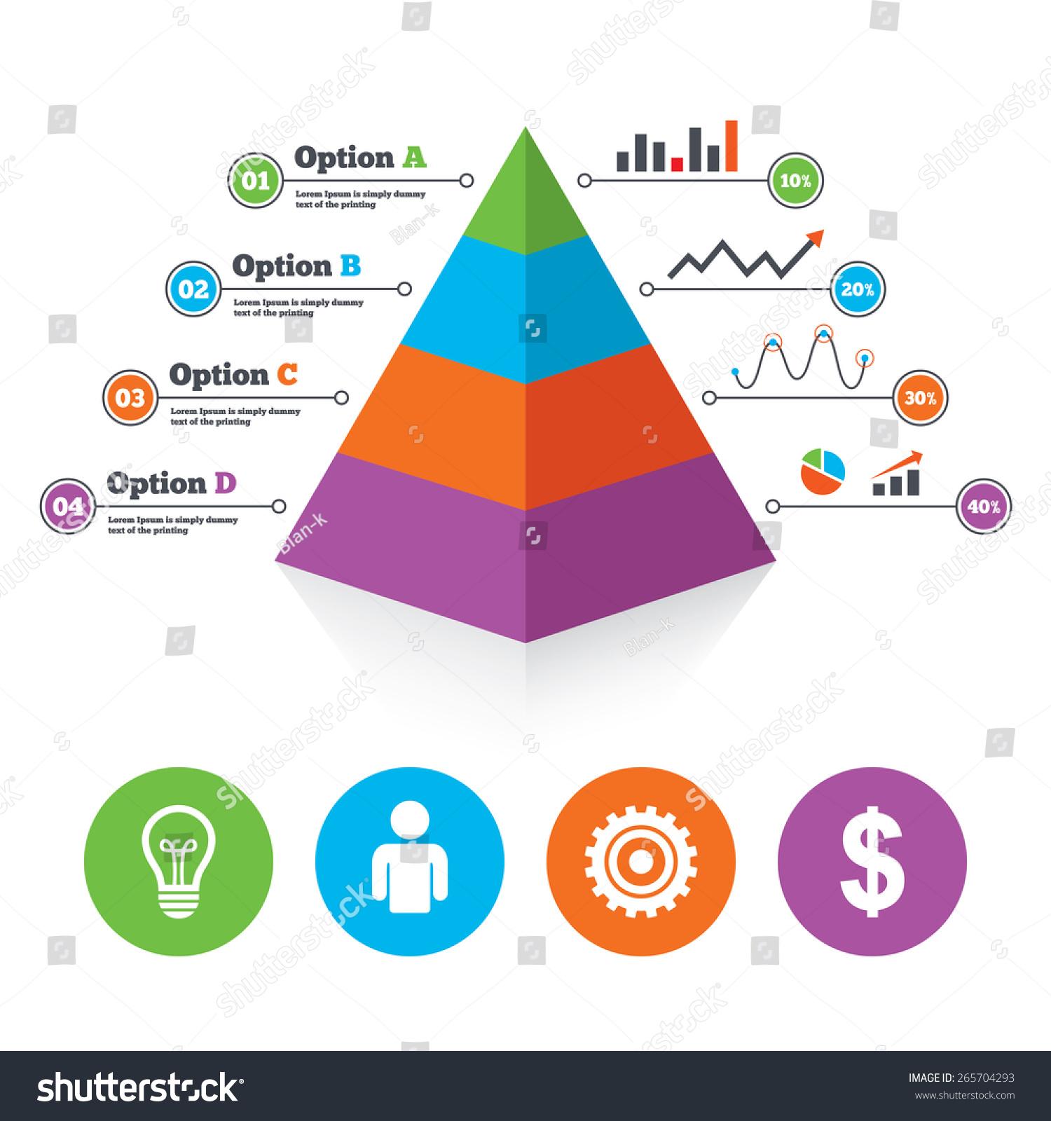金字塔图模板.业务图标.人类的轮廓和灯泡的想法的