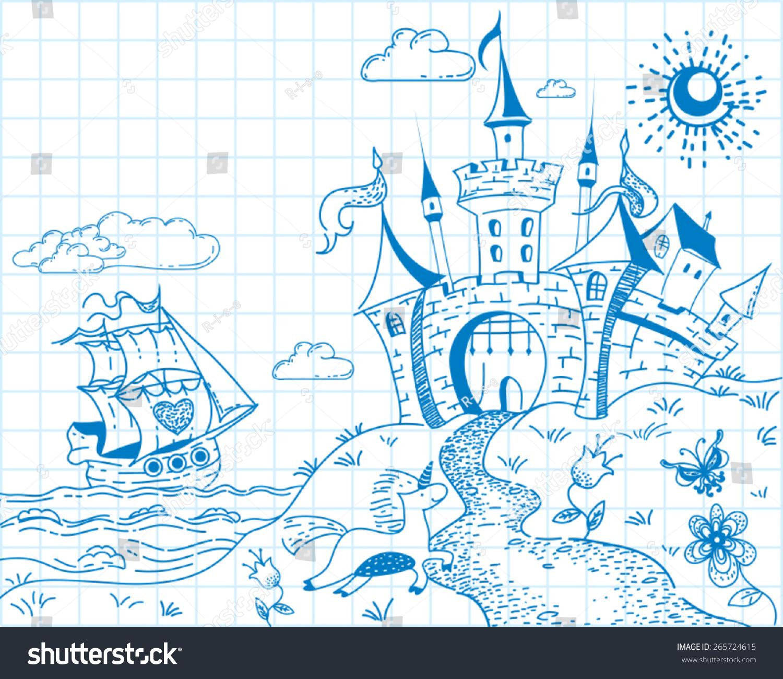 轮船产品手绘图