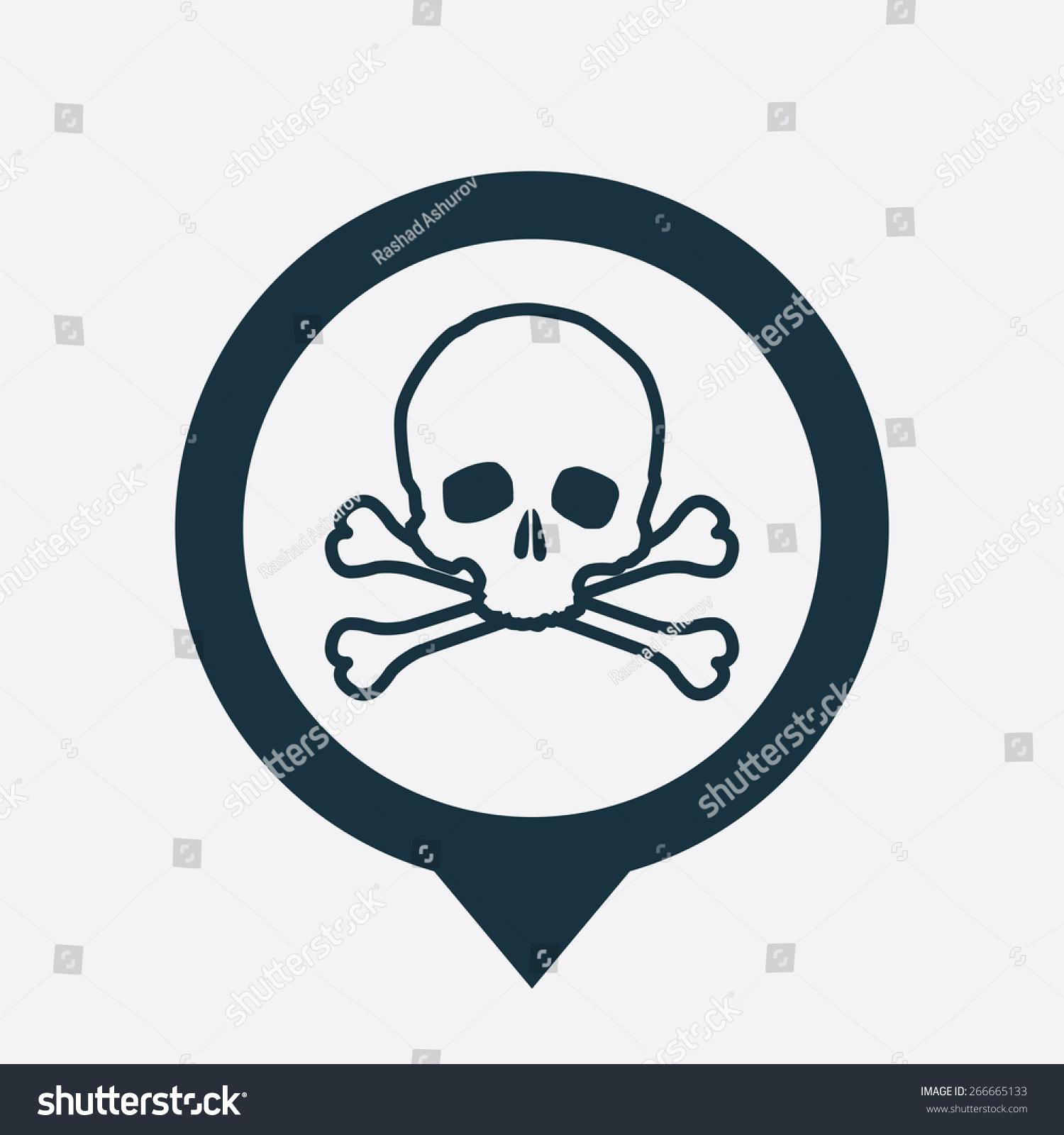 骷髅图标地图销在白色背景-符号/标志-海洛创意()-合.
