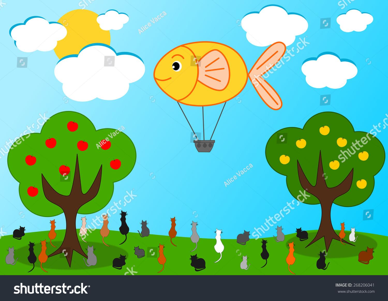 鱼的热气球和饥饿的猫有趣的卡通插图-动物/野生生物