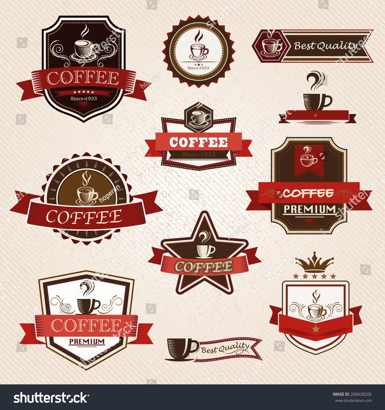 咖啡的标签设计元素-食品及饮料,符号/标志-海洛创意