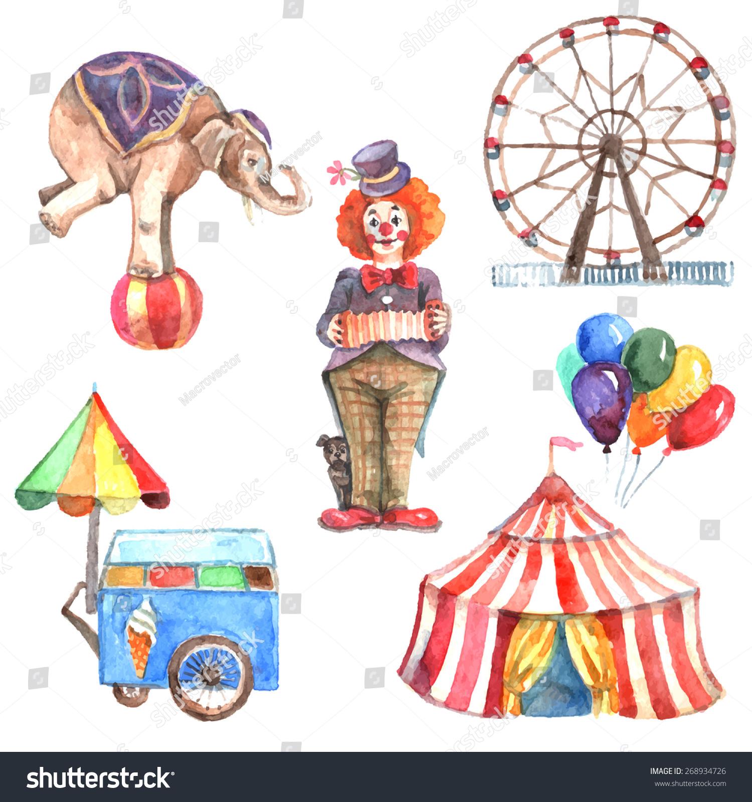 水彩画马戏团装饰的图标与大象小丑和费里斯轮孤立的