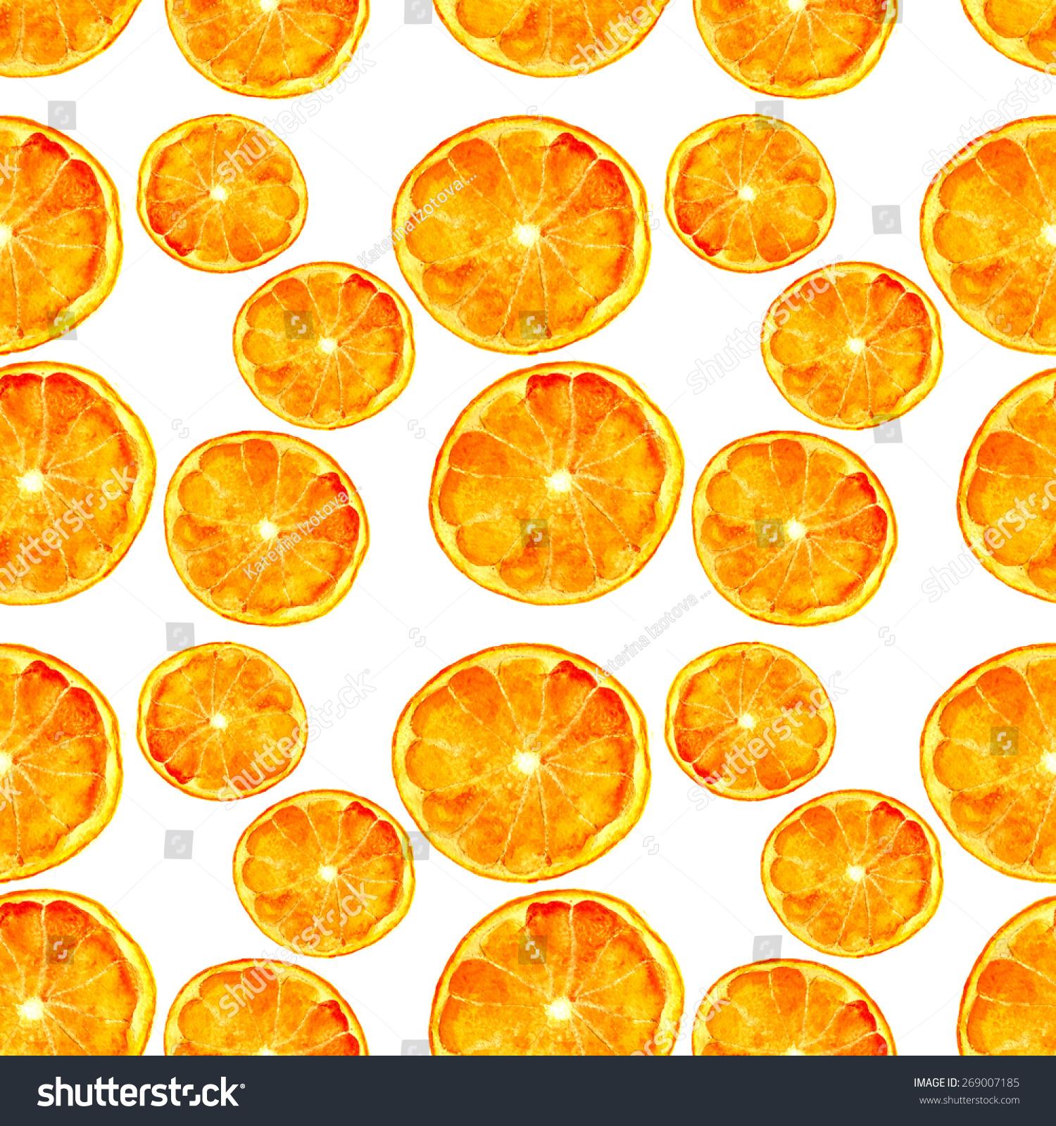 橙子无缝模式,手绘水彩-食品及饮料-海洛创意(hellorf