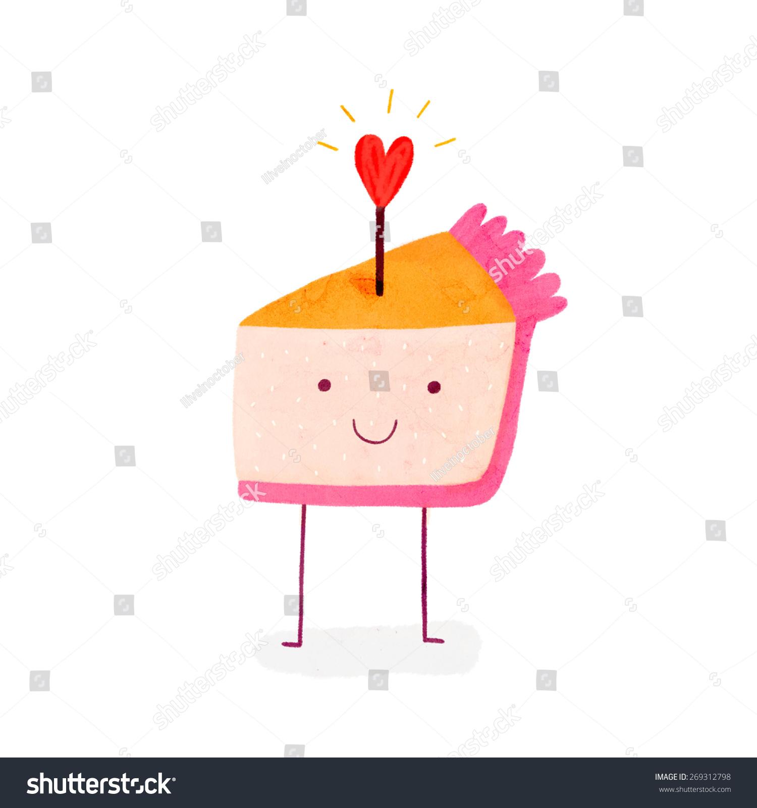 可爱的生日蛋糕和闪亮的心.笑脸派人物卡通风格-食品