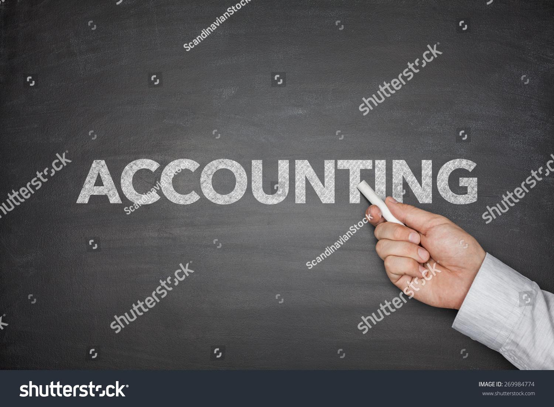 会计黑黑板上单词与商人的手-背景/素材,商业/金融-()