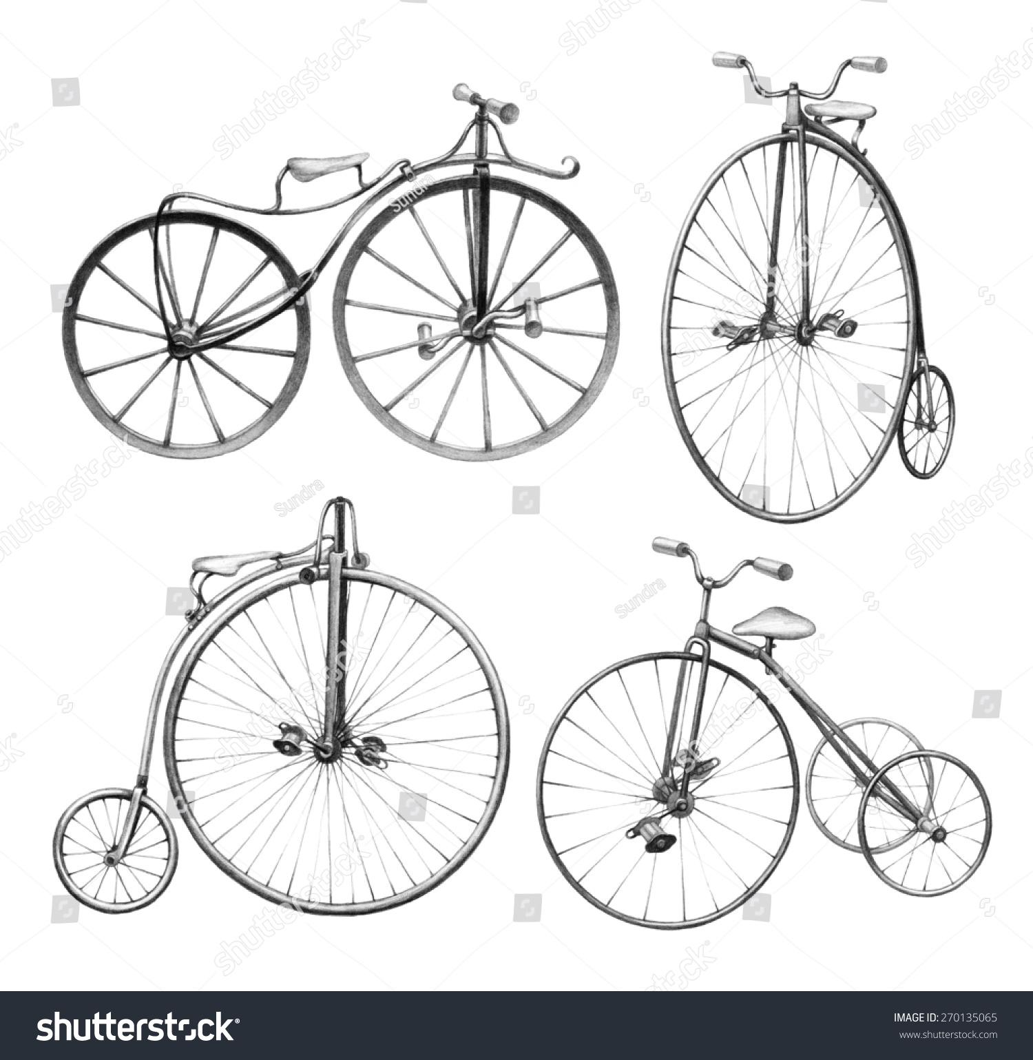 自行车的铅笔画-交通运输