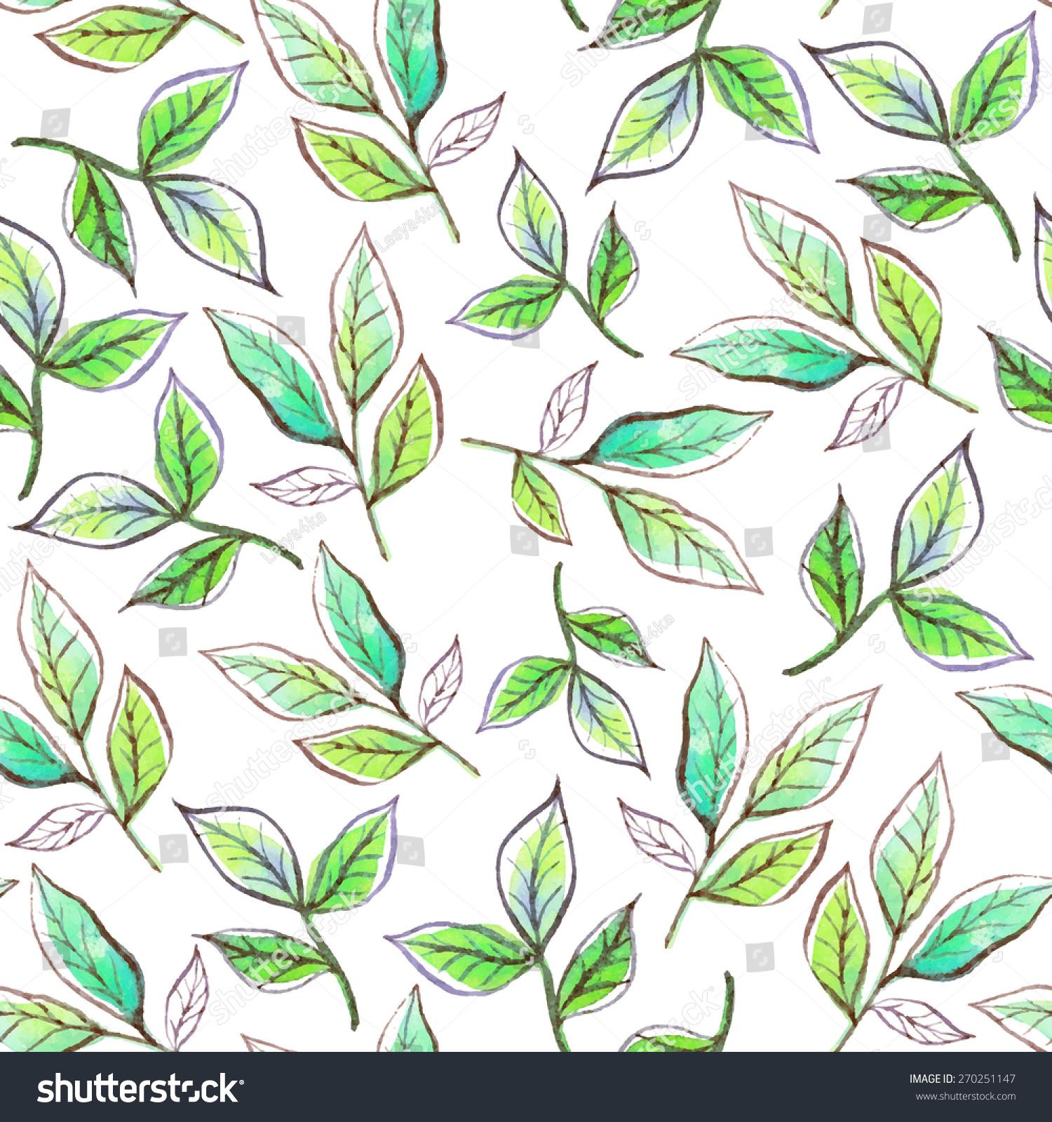 水彩树枝和树叶绿色.向量无缝模式.-自然,复古风格-()