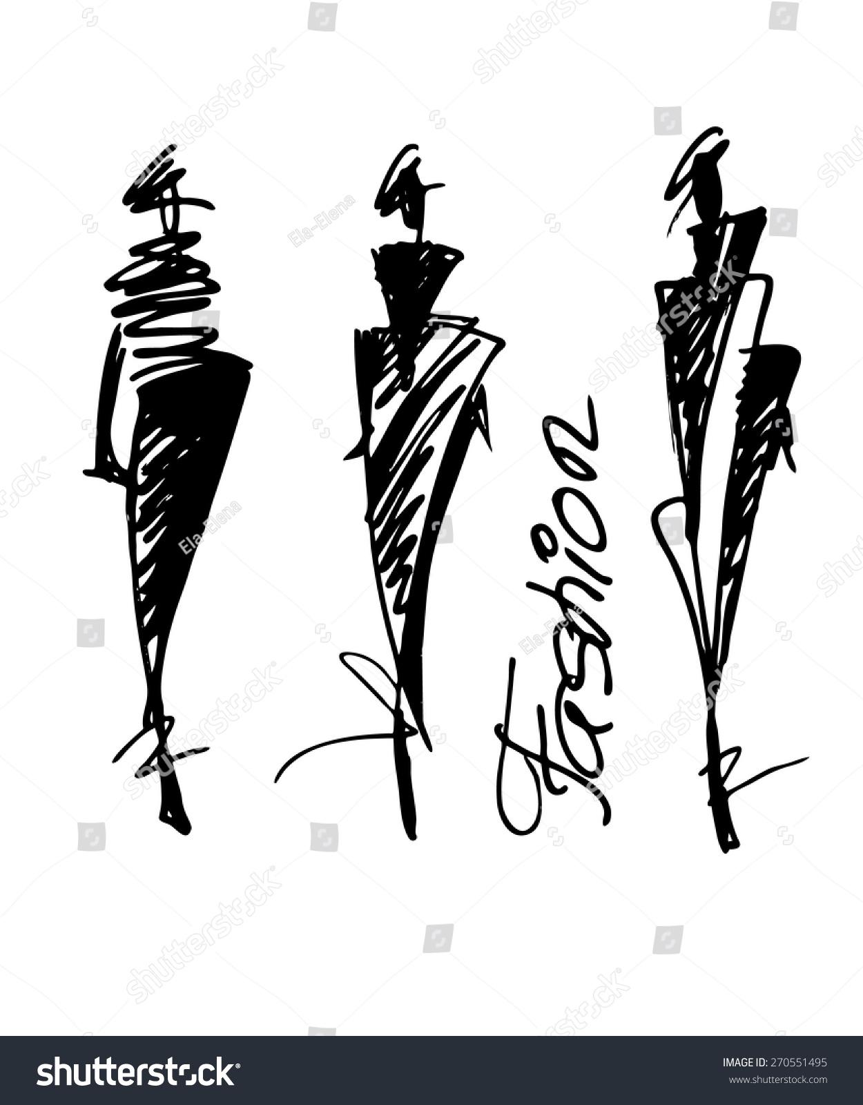 时装模特手绘草图,矢量插图