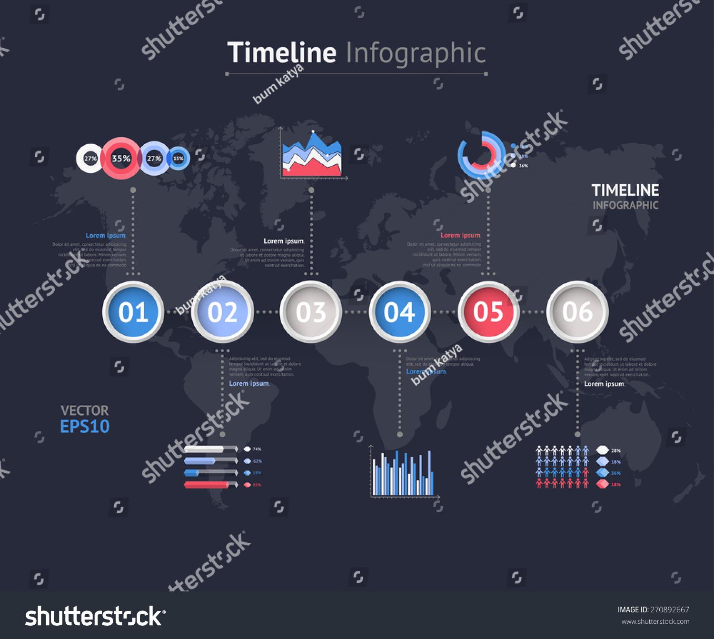 时间轴矢量图.世界地图
