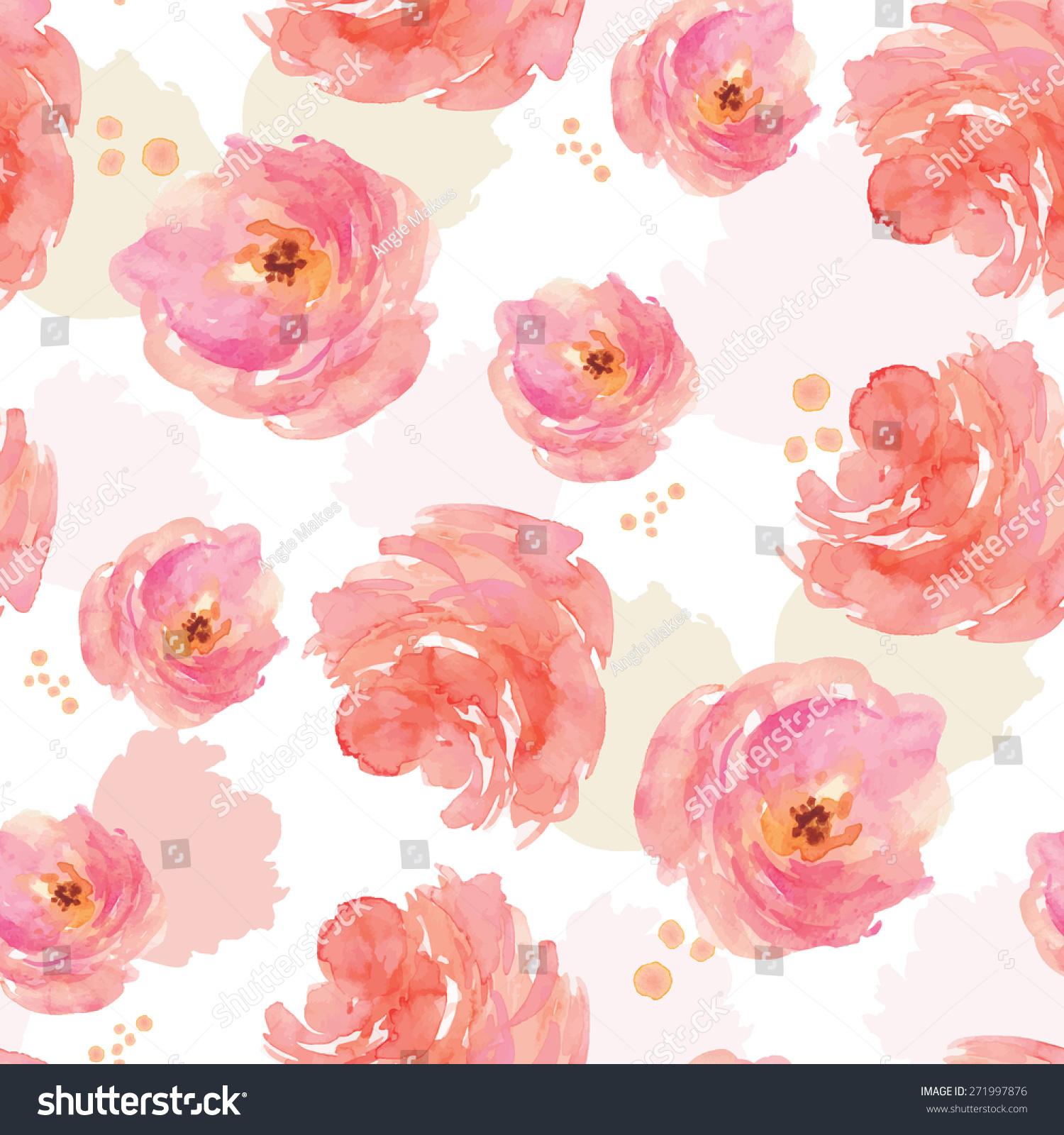 水彩牡丹花朵背景图案.重复画花卉图案-背景/素材-()