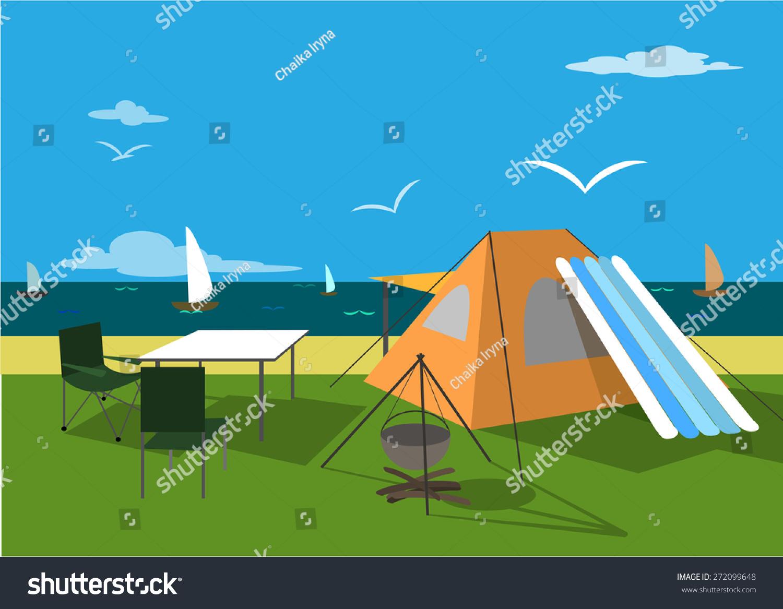 旅游休闲帐篷在沙滩上,在大海,暑假,插图,复古的背景.