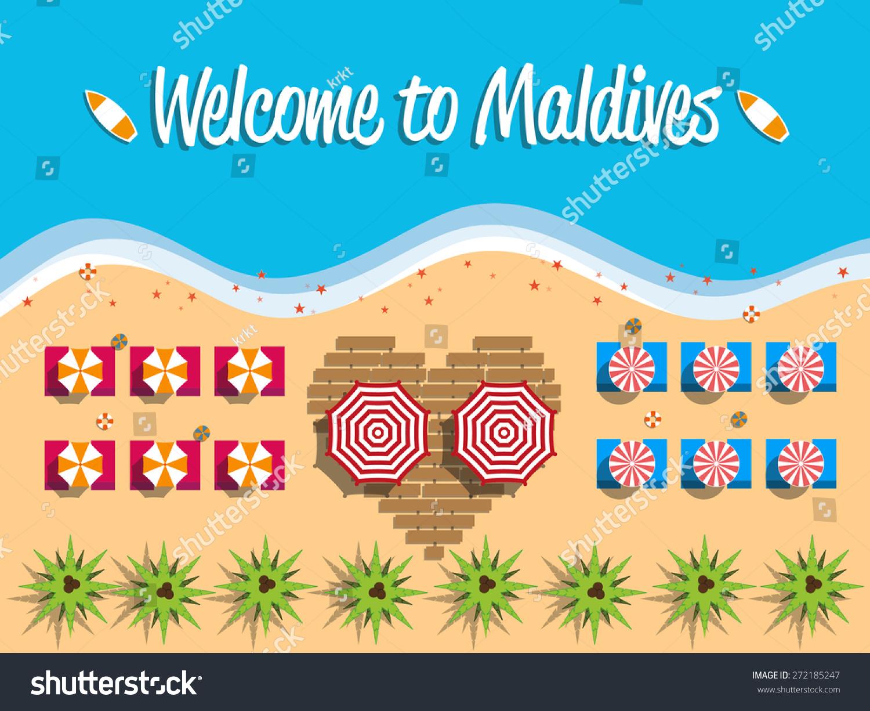 欢迎来到马尔代夫明信片平面设计,海滩视图之上,矢量插图