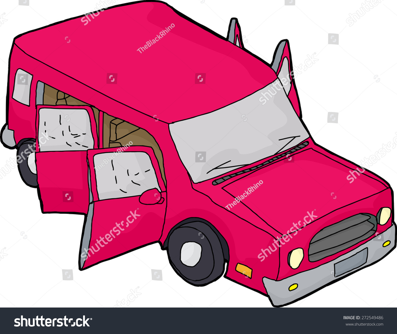 手绘粉色卡通汽车打开大门-交通运输-海洛创意()-中国