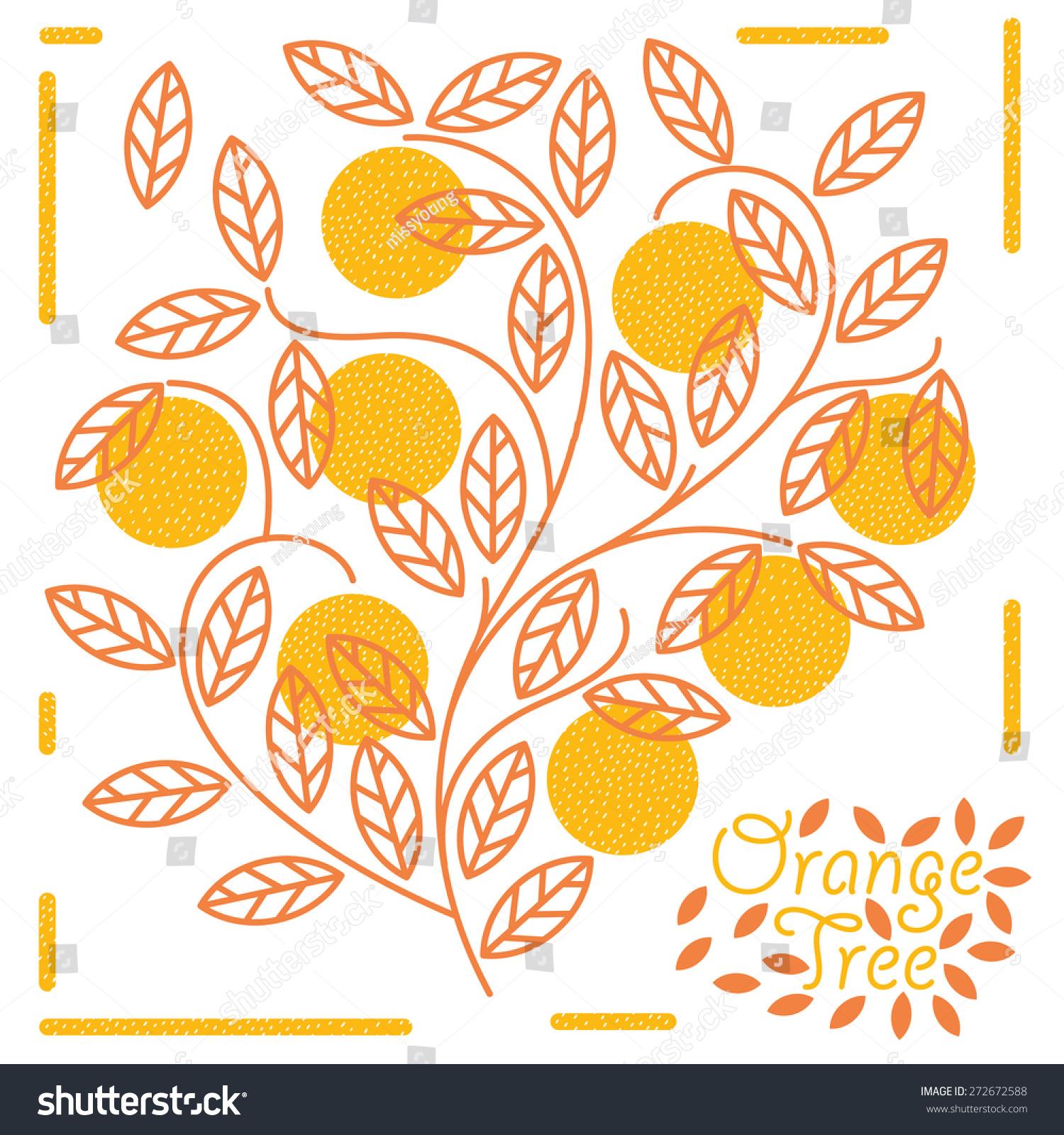 橘子树素描矢量图