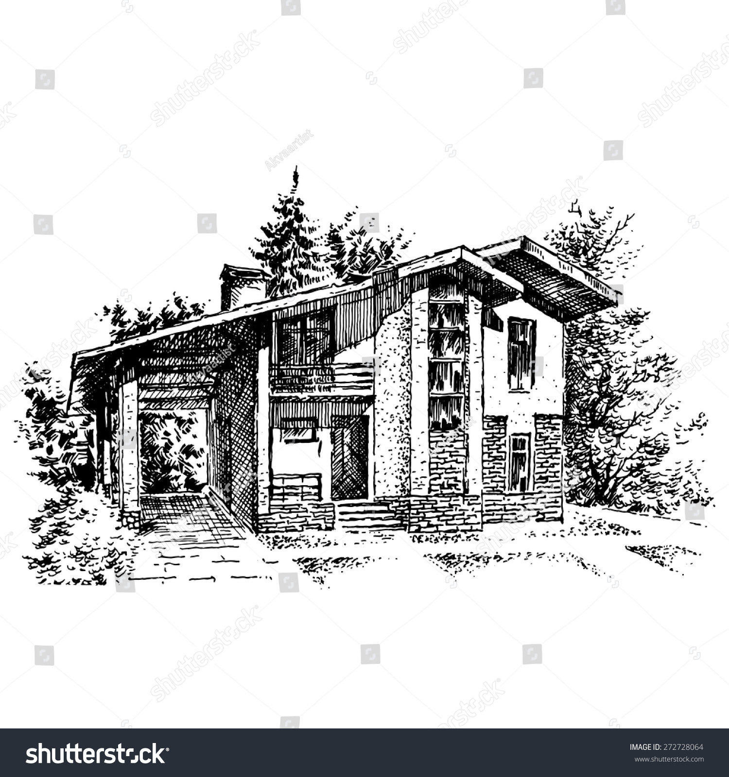 family home engraving - illustration 1-建筑物