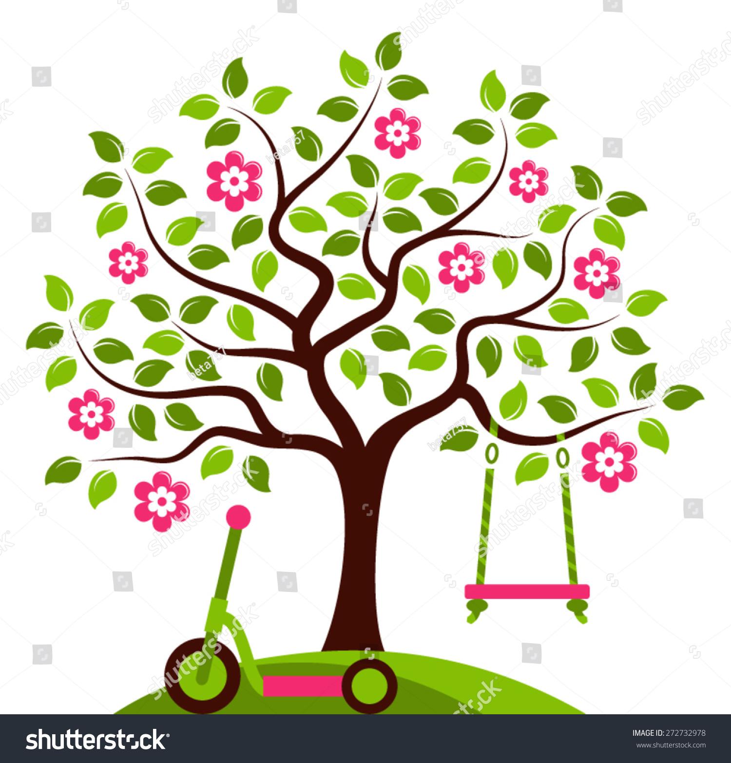 向量开花的树与swing和摩托车孤立在白色背景-自然